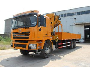 Shacman F3000 10 Ton Knuckle Crane Truck with bed and sides